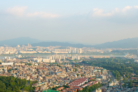 Seoul city street view from top in summer in Korea