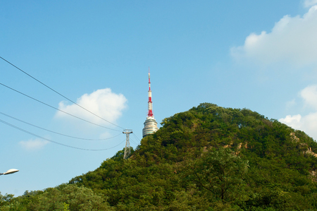 Seoul tower in summer in South Korea on the hill Stock Photo