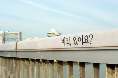 Hangang river in Seoul in summer in South Korea. Phrase written: Do you have a secret?