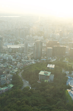 Seoul city street view from top in summer in Korea toned in blue-green Stock Photo