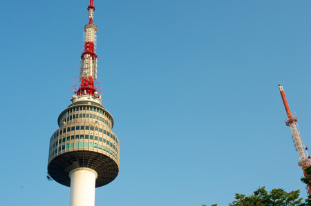 Seoul tower in summer in South Korea on the hill Editorial