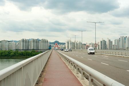 Hangang river in Seoul in summer in South Korea