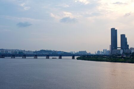 Hang river in Seoul in the evening with seagulls 写真素材