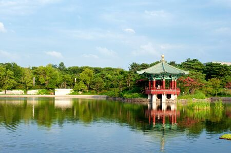 Pagoda with pond in summer in Seoul, South Korea