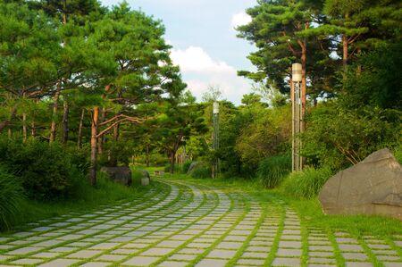 Park near National museum in Seoul, South Korea 写真素材