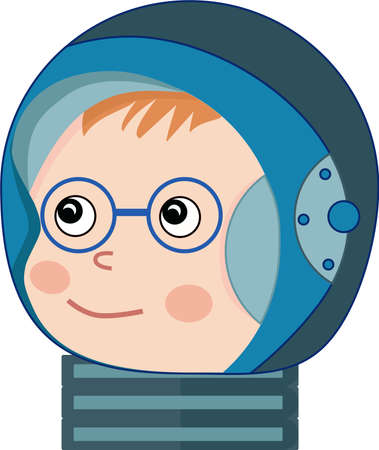 A child in an astronaut's spacesuit with a smile and blush and glasses. Ilustrace