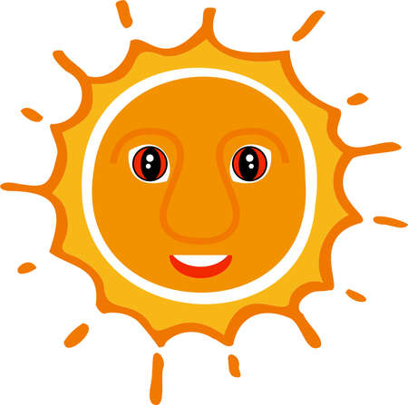 A good-natured yellow sun in a children's style with eyes and a snow-white smile.