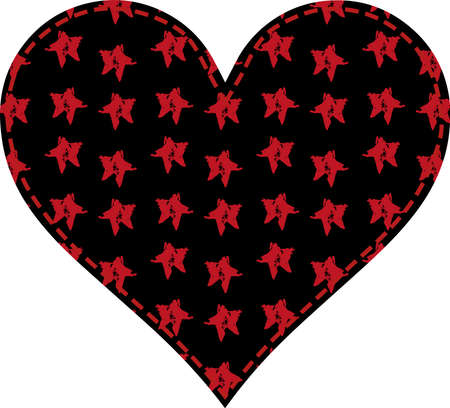 heart in a patchwork style black pattern with red grunge stars