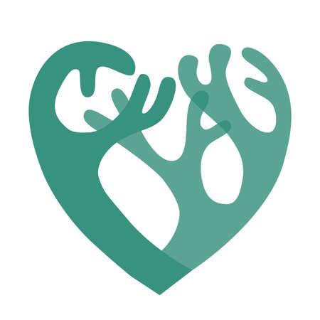 Lichen icon in the form of a heart silhouette in two colors in two colors Vektorgrafik