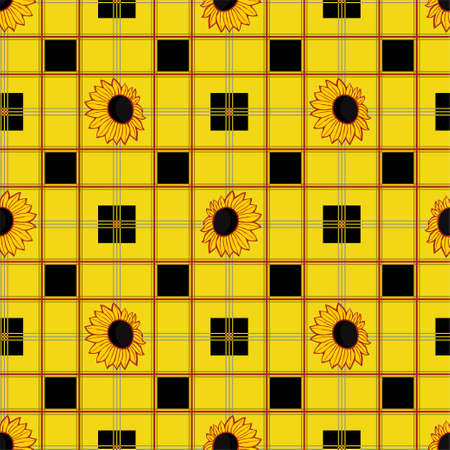 Seamless pattern with a check pattern and a sunflower flower