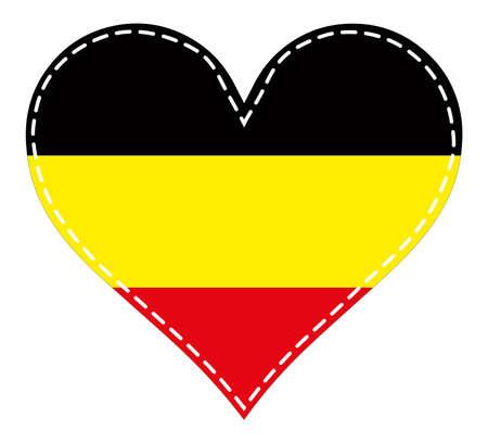 Heart in patchwork technique Flag of Belgium