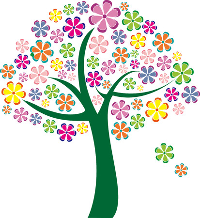 Colorful flowers tree