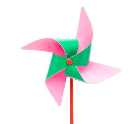 pinwheel toy: Color windmill Isolated on white background Stock Photo