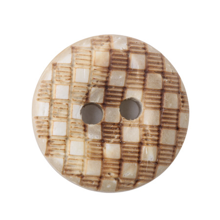 suture: Wooden buttons isolated on white background Stock Photo