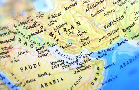 Middle East region on world map including Syria, Saudi Arabia, Iran, Iraq, Oman and Pakistan. Selective focus