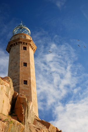 galicia: lighthouse Cabo Vilan on atlantic ocean  Galicia