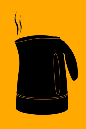 Vector kettle silhouette on orange photo