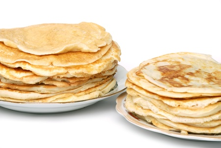 browned: two stacks of browned pancakes