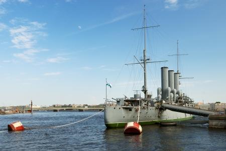 Aurora cruiser in Saint-Petersburg at day photo