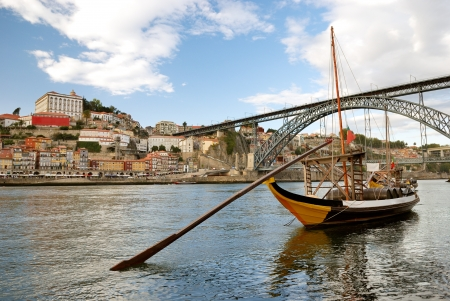 rabelo boats near Dom Luis Bridge  Porto - Portugal  photo
