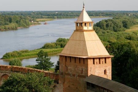 novgorod: Fortress in Velikiy Novgorod - one of the oldest and most beautiful cities in Russia Stock Photo