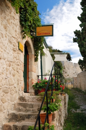 rhodes: Little hotel in medieval Rhodes  Greece  Stock Photo