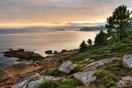 Coastal Sunset on Atlantic ocean  Galicia  photo