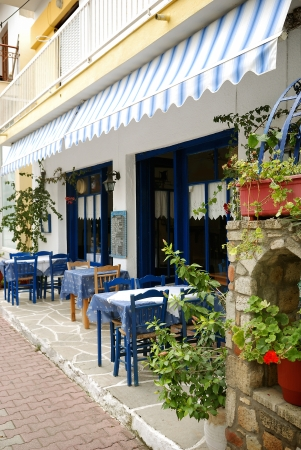 restaurant exterior: Outdoor cafe in old greek town
