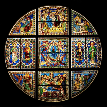 stained-glass window in Siena Cathedral  duomo - toscana - italy  photo