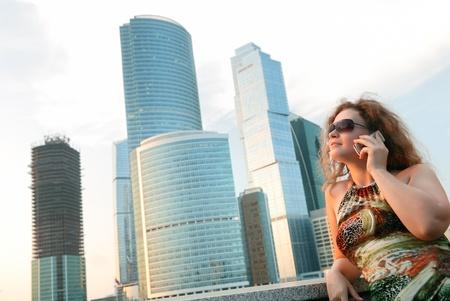 russian woman: Businesswoman near modern buildings  moscow