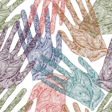 Pretty sketch zentangle handprint Illustration