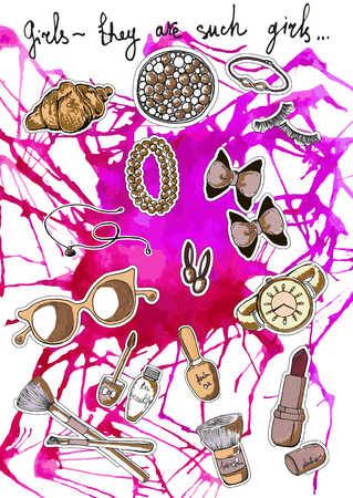 Beautiful colorful background of female things - bracelet, lipstick and nail polish. hand-drawn illustration Illusztráció
