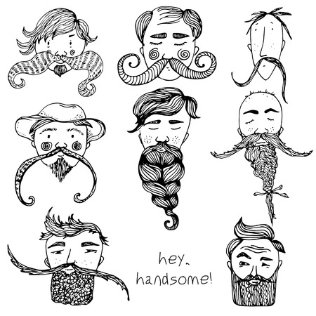 Hand Drawn vector zen Beard Set with funny faces and text hey, handsome