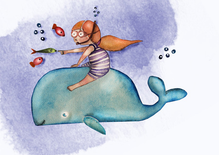 Childrens book illustration. Watercolor cute girl with red hair in striped swimming suit on the whale, cozy atmosphere. Greeting card. Can be printed on T-shirts, bags, posters, invitations, cards, phone cases, pillows.