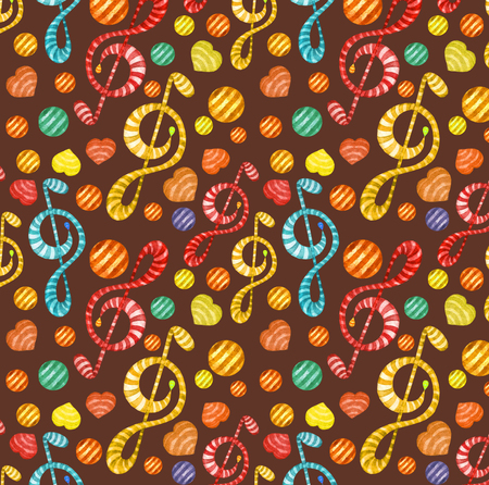Colorful watercolor music notes seamless pattern on dark background.