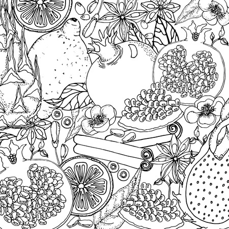 Doodle floral background in vector with doodles black and white coloring page. Vector ethnic pattern can be used for wallpaper, pattern fills, coloring books and pages for kids and adults.