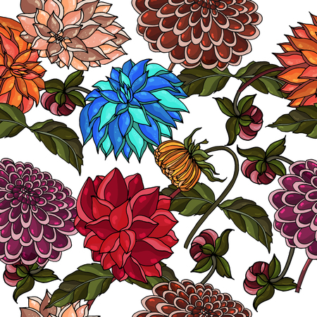 sketched flower print in bright colors - seamless background. Elegant seamless pattern with set of flowers, design elements on white background. Floral bright pattern for invitations, greeting cards, scrapbooking, print, gift wrap, manufacturing, textile.