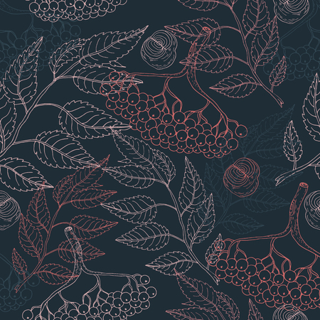 Cute colorful floral viburnum seamless pattern on blue background for fabric, textile, texture, wrapping paper, wallpaper, cards, web design. Hand drawn illustration