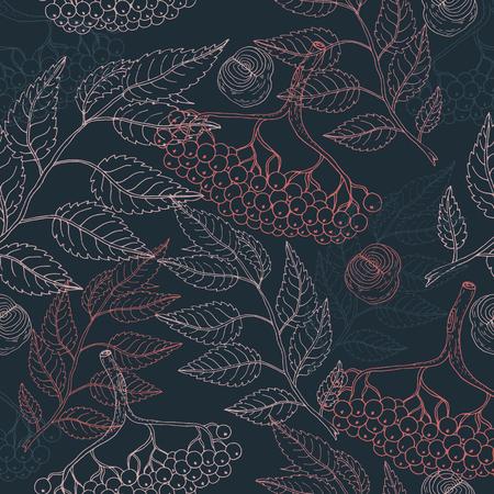 Niedliches buntes florales Viburnum nahtloses Muster auf blauem Hintergrund für Stoff, Textil, Textur, Packpapier, Tapete, Karten, Webdesign. Handgezeichnete Abbildung
