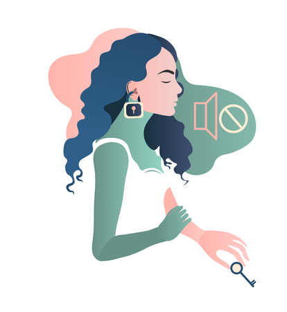 Woman with hear impairment as a symptom of disease. Deaf girl. Hear no sound. Isolated flat vector illustration. For logo, commercial, trading, fashion, ads, graphic, cards, web design. Hand drawn illustration Ilustração