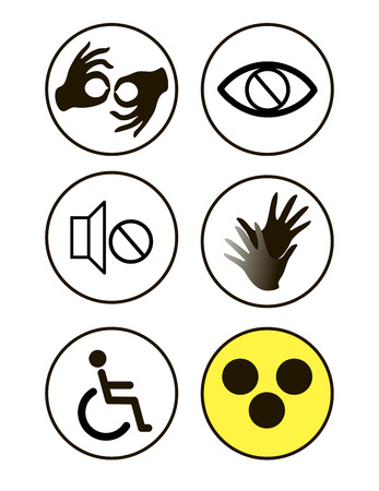 black disability symbols and signs collection, may be used to publicize accessibility of places, and other activities for disabled people.vector illustration
