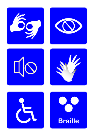 blue disability symbols and signs vector collection, publicize accessibility of place, activities for disabled people.vector illustration Sign language,blind, deaf, disabled icon.