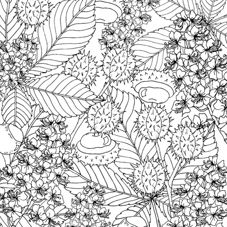 Doodle floral chestnut background in vector with doodles black and white coloring page. Vector ethnic pattern can be used for wallpaper, pattern fills, coloring books and pages for kids and adults.