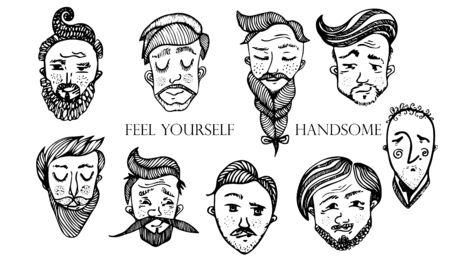 Satz bärtige Hipster-Männergesichter. Haarschnitte, Bärte, Schnurrbärte gesetzt. Gut aussehender Mann Embleme Symbole. Vektorgrafik