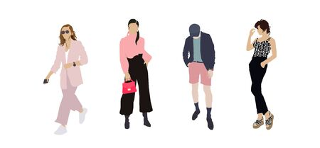 Set of fashion people. Vector flat design colorful fashionable people standing in different poses. Women and a man inluxury clothes