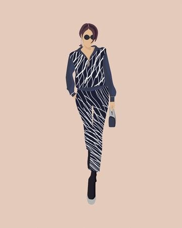 Fashion look. Beautiful young woman in a suit. Fashion model posing. Stylish girl in sunglasses a short haircut and striped costume, suit. Urban casual style. Flat design. Vector fashion illustration. Simple. Beige, fawn background. Style Фото со стока - 129195802