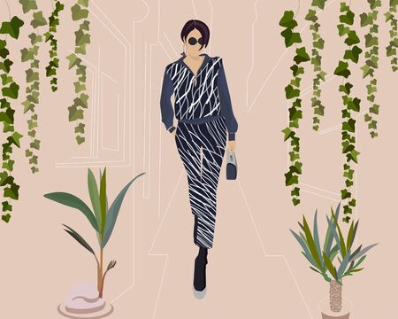 Fashion look. Beautiful young woman in a suit. Fashion model posing. Stylish girl in sunglasses a short haircut and striped costume, suit. Urban casual style. Flat design. Vector fashion illustration. Simple. Beige, fawn background with green plants