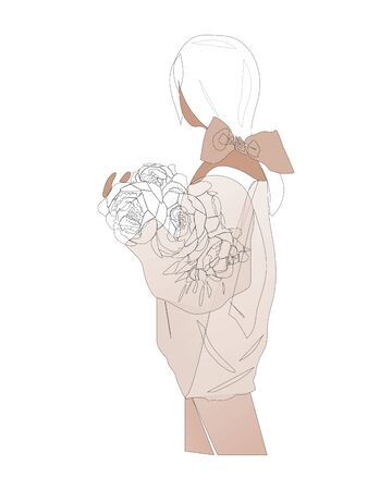 Young girl standing back with a bouquet of peonies in a sweater. Linear art. Continuous line drawing, vector illustration, flat design, one line on white background
