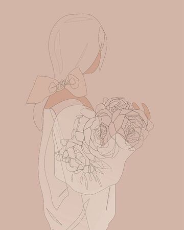 Young girl standing back with a bouquet of peonies in a sweater. Linear art. Continuous line drawing, vector illustration, flat design, one line on beige background. Black line art, flat design