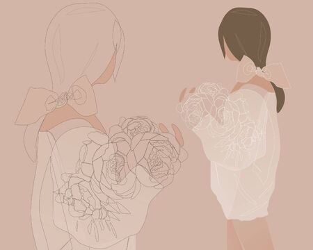 Young girl standing back with a bouquet of peonies in a sweater. Linear art. Continuous line drawing, vector illustration, flat design, one line on beige background